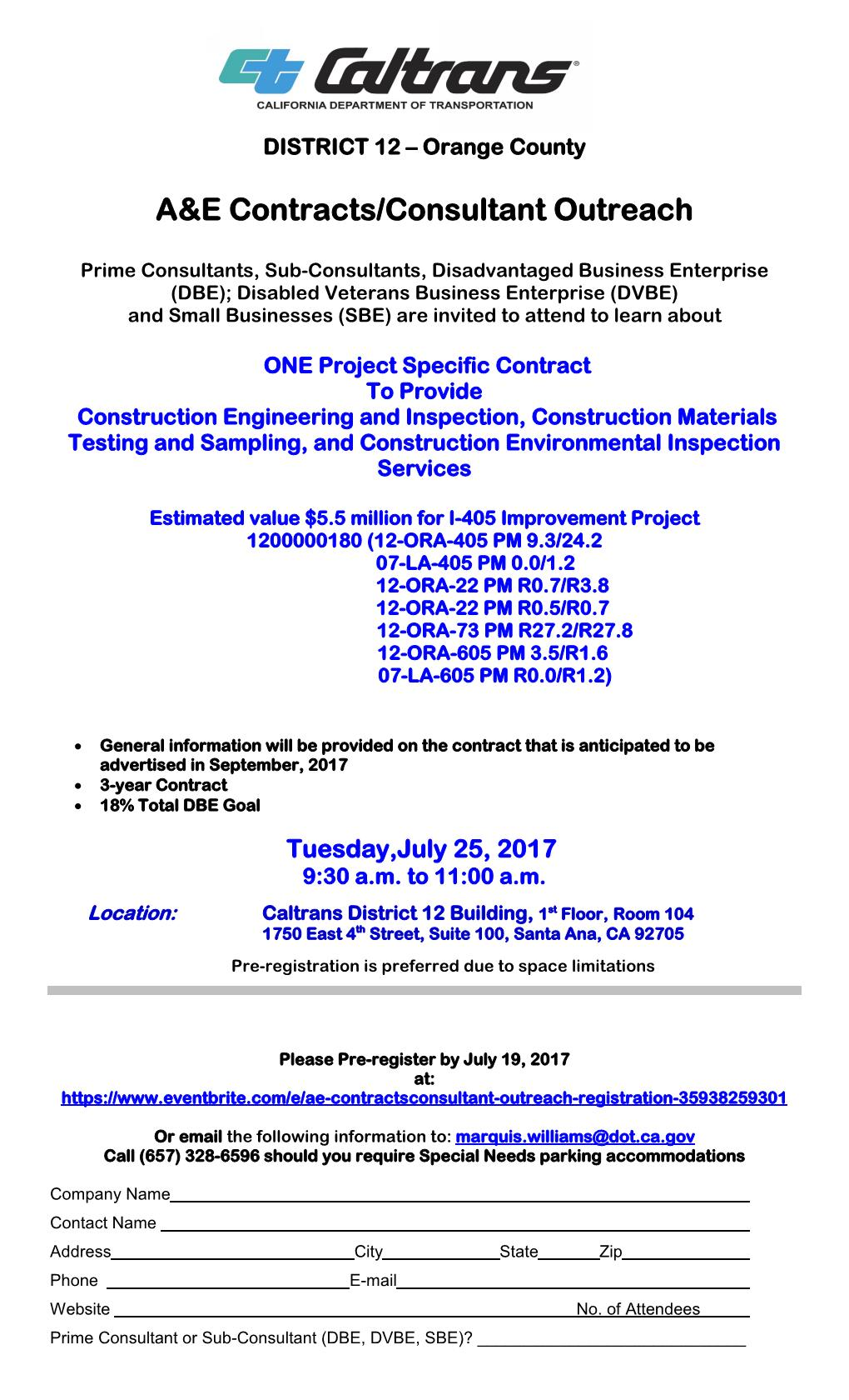 CALTRANS A&E CONTRACTS / CONSULTANT OUTREACH