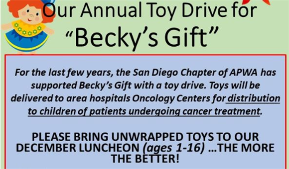 Please Bring and Unwrapped Toy to the Dec 12 Lunch